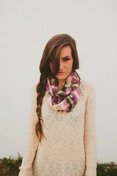 Infinity Textured Plaid Scarf DIY - Sincerely, Kinsey