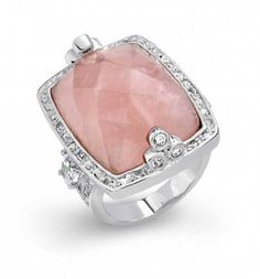 Bling Jewelry Rectangular Genuine Rose Quartz and Clear CZ Heart Cocktail Ring