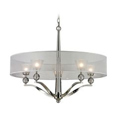 Elk Lighting Modern Chandelier with Silver Shade in Polished Nickel Finish | 31292/5 | Destination Lighting