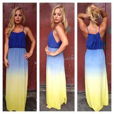 Blue  Yellow Ombre Maxi Dress  :)