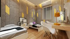 Modern style interior of bed room with bright ambiance .