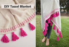 Simple DIY Tassel Blanket | http://www.iluvdiy.com/simple-diy-tassel-blanket/ #DIY #Craft #Blanket #Tassel #Fall
