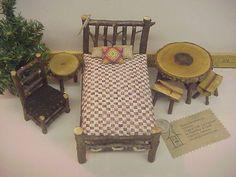 Rustic Miniature Dollhouse Furniture 11 piece Set