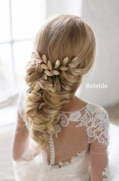 Gold Vine Hairpiece Low Updo Wedding Hairstyle