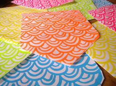 neon wave pattern screen printed envelope set for by chewytulip, $8.00
