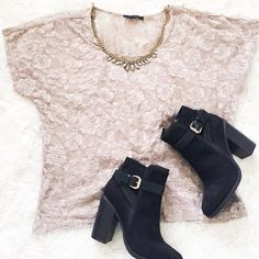 """Taupe Lace top This pretty taupe top has a stretchy rosy lace. Nice for layering & can be dressed up or down{actual color of item may vary slightly from pics}  *shoulders:23"""" *chest:22.5"""" *waist:20"""" *length:23.5"""" *material/care:90% nylon 10%spandex hand wash *fit:true to size  *condition:no rips/stains  20% off bundles of 3/more items No Trades  NO HOLDS No transactions outside of Poshmark  No lowball offers F21 Tops"""