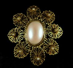 Vintage Brooch Lovely Gold Tone Filigree with White Cabochon and Faux Pearls   eBay