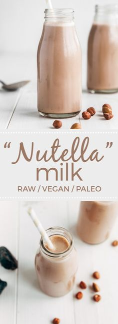 Raw Nutella Milk, Food And Drinks, Raw Paleo Vegan Chocolate Hazelnut Milk Raw Vegan Recipes, Vegan Foods, Paleo Vegan, Paleo Diet, Healthy Recipes, Vegan Raw, Hazelnut Recipes, Vegan Butter, Date Recipes Raw