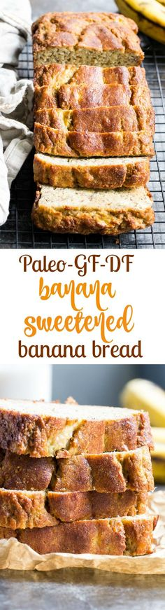 Hearty Paleo Banana Bread (Sweetened with Bananas Only!) This deliciously hearty yet soft and moist Paleo banana bread is made with no grains, dairy, and no added sugar. It's gluten free, Paleo and sweetened only with bananas and perfect for breakfast or Dairy Free Recipes For Kids, Dairy Free Snacks, Gluten Free Recipes, Paleo Dessert, Paleo Sweets, Gluten Free Baking, Healthy Baking, Bananas, Real Food Recipes