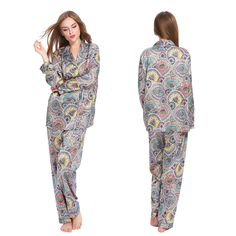 Silk #Pajamas Set with Floral Geometric patterns For Women. #lilysilk
