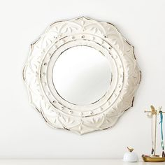 PB Teen Antique White Framed Mirror at Pottery Barn Teen - Mirrors -... ($129) ❤ liked on Polyvore featuring home, home decor, mirrors, ivory mirror, dorm decor, bone mirror, framed mirror and pbteen