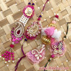 Designer Pink Rakhi Pair Set For Bhaiya Bhabhi Diwali Decorations, Handmade Decorations, Diy Tassel, Tassels, Rakhi Pic, Send Rakhi To India, Buy Rakhi Online, Handmade Rakhi Designs, Rakhi Making