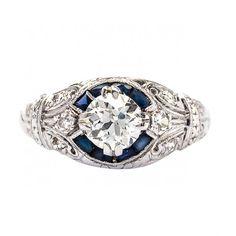 Art Deco diamond and sapphire engagement ring. www.kristoffjewelers.com #engagementring #weddings