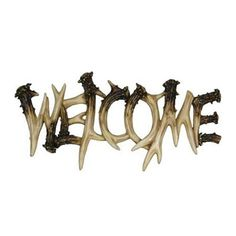 Rivers Edge Products 1382 Deer Antler Theme Welcome Plaque at Kitchen Appliances Lists Products - this welcome plaque is made with a hand painted poly resin design that has a realistic deer antler theme Antler Crafts, Antler Art, Hunting Bedroom, Outdoor Statues, Deer Antlers, Deer Heads, Deer Skulls, Rustic Signs, Wall Sculptures