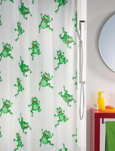 #Spirella Frog Time Shower Curtain. #green #bathroom #frogs