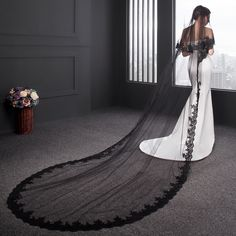 Women's Accessories, Special Occasion Accessories, Bridal Accessories,Women's Lace Black Wedding Bridal Veil With Comb - Black - # # Black Wedding Gowns, Gothic Wedding, Wedding Veils, Tulle Wedding, Red Wedding, Wedding Ideas, Vail Wedding, Black Weddings, Medieval Wedding