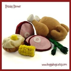 HOLIDAY DINNER - PDF Pattern (Turkey, Ham, Baked Potato, Corn, Asparagus)