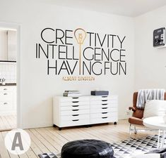 Albert Einstein wall decal // Quotes for office decor / Inspirational wall art / Motivational wall decor / Vinyl decal – Office İnspiration Vinyl Wall Decals, Wall Stickers, Vinyl Art, Co Working, Office Walls, Bedroom Office, Office Spaces, Inspirational Wall Art, Wall Quotes