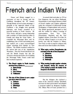 The French and Indian War – Free Printable American History Reading with Questions, Grades - French and Indian War Reading with Questions 7th Grade Social Studies, Social Studies Worksheets, Social Studies Classroom, Social Studies Activities, History Classroom, Teaching Social Studies, History Teachers, History Education, Phonics Worksheets