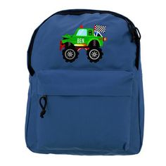 Personalised Blue Backpack - Monster Truck