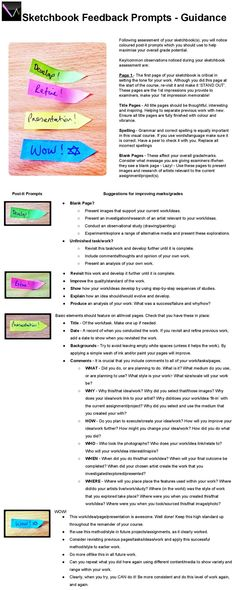 GCSE Art and Design Sketchbook Feedback Announcements - Instructions - Art Education Sketchbook Assignments, Sketchbook Prompts, Art Sketchbook, High School Art, Middle School Art, Art Rubric, Rubrics, Art Analysis, Art Doodle