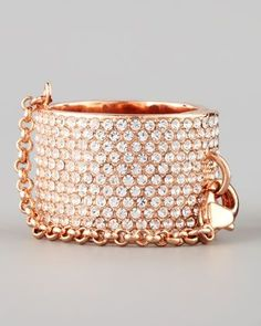 Pave Crystal Ring with Safety Chain by Eddie Borgo at Neiman Marcus.: