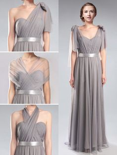 Convertible Medium Grey Tulle Multi Bridesmaid Dresses