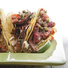 Grilled Cola Skirt Steak Salsa Tacos area  delicious mouthful | http://www.rachaelraymag.com/Recipes/rachael-ray-magazine-recipe-search/no-recipe-zone-recipes/grilled-cola-skirt-steak-salsa-tacos