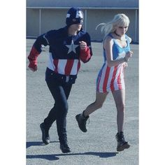 Behind the scenes with @ishotchad with James Kerr and @arielbees running as Captain Americans in a laundry mat parking lot. #captainamerica ...