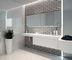 Znalezione obrazy dla zapytania biała cegła na ścianie w łazience a co na podłogę?