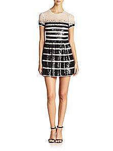 BCBGMAXAZRIA - Sequin-Stripe Lace Dress