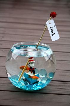 "The Cat In The Hat - Party Favor - A goldfish.  With a tag attached reading, ""I'm Clark""."