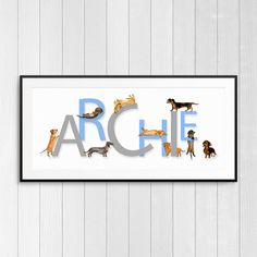 Personalised Name Giclée Print  Dachshunds by InkMyLifeShop