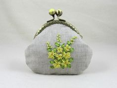 Hand embroidered coin purse, embroidered linen purse, embroidered yellow floral pouch, silk ribbon embroidery by JRsbags on Etsy Embroidery Purse, Sewing Machine Embroidery, Silk Ribbon Embroidery, Frame Purse, Ribbon Art, Quilted Bag, Small Bags, Purses And Bags, Coin Purses