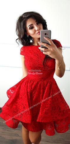 d451002c3f Sukienkowo.com - TIFFANY - Koronkowa rozkloszowana sukienka z dwóch falban  czerwona