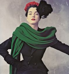 Debrise wearing a black wool suit by Balenciaga, October 1950. Photo by Irving Penn.