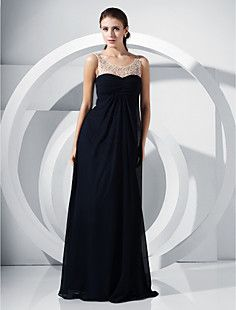 A-line Scoop Floor-length Chiffon Evening Dress  – USD $ 195.99