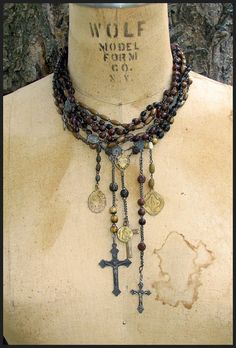 French Chic Rosary Choker by thesacredmaiden on Etsy,
