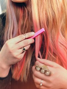 Glastonbury Festival Fashion Inspiration. hippie, bohemian, boho, Free People Ombre Hair Chalk, pink, jewellery, rings, hair dye, dip dye, DIY