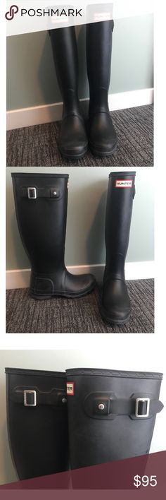 Hunter Tall Black Boots Selling my tall black Hunter boots! They do not come with the original box and have only been worn 3 times. There are some light white mark on the inner left boot that look like a splash (see final pic). Hunter Shoes Winter & Rain Boots