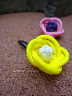 Paracord Rose Hair Clips