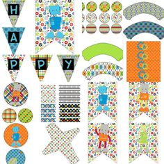 Robot Alien Boys Birthday Party Decorations Pack Package Digital Download DIY Printable Robot Alien Boys Birthday Party by PocketOfPosiesPrints on Etsy