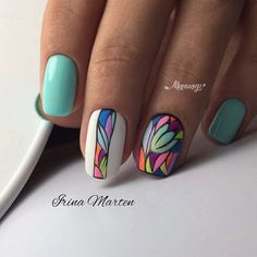 strong pastel nails enriched with beautiful decoration 44 Fabulous Nails, Gorgeous Nails, Perfect Nails, Pretty Nails, Hot Nails, Hair And Nails, Gel Nail Art, Acrylic Nails, Nagellack Trends