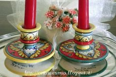 Candlestick,  Hand painted #Italy http://ceramicamia.blogspot.it/2013/04/le-bugie-dipinte.html