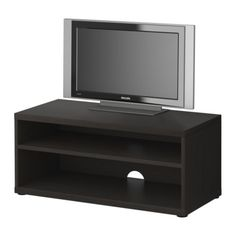 MOSJÖ  TV unit, black-brown  $39.99  Article Number: 901.447.30  1 adjustable shelf. Bench with cord outlet in the back; keeps all cords in one place.