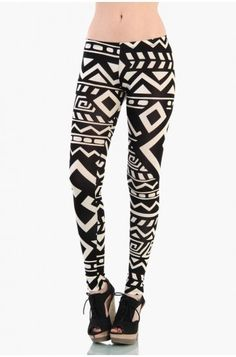LoveMelrose.com From Harry & Molly | Aztec Print Leggings - Ivory