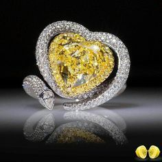 Yellow Heart Halo Style Beautiful Cocktail Party Handmade CZ Ring for Women Heart Jewelry, High Jewelry, Heart Ring, Jewellery, Diamond Gemstone, Gemstone Rings, Colored Diamonds, Yellow Diamonds, Yellow Jewelry