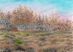 Podzim na Etně, akvarel a pastelky, Jana Haasová, SeniorTip Watercolor Landscape, Rocks, Trees, Mountains, Drawings, Nature, Plants, Painting, Art