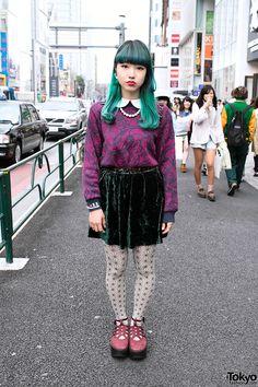 Green-haired Chipa w/ velvet skirt  Tokyo Boppers in Harajuku.