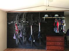 Kenneth and I got our bike hung today. We call this our wall of pain.